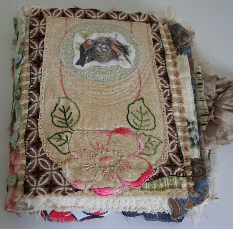 Birds crazy quilt journal front cover