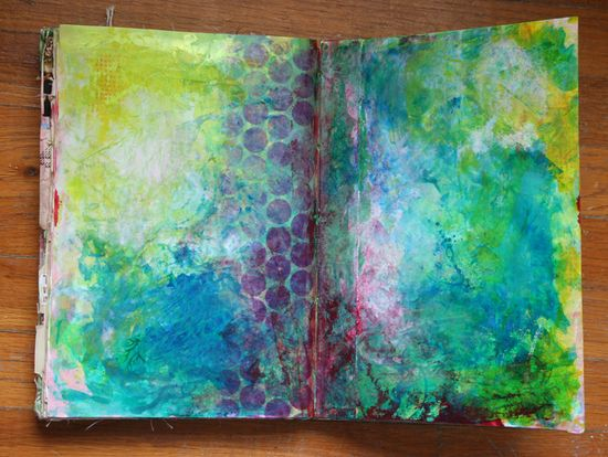 Painted background page visual journal