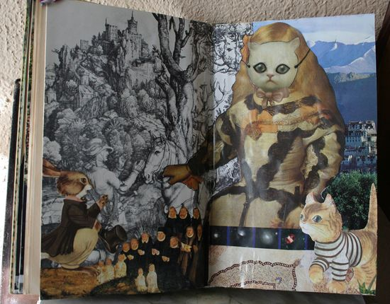 Altered book down the rabbit hole