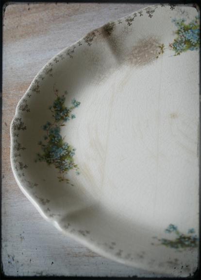 Vintage ironstone platter with violets
