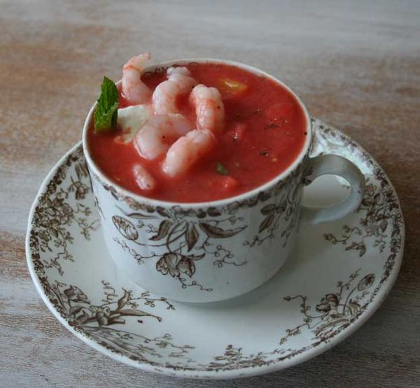 Watermelon shrimp gazpacho