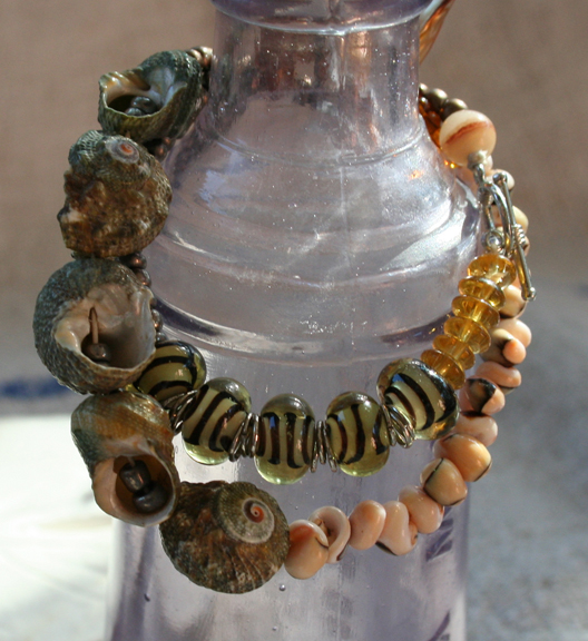 Wrapped mermaid gypsy pearl and shell bracelet