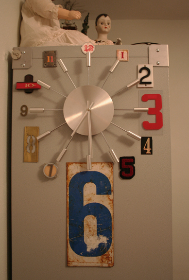 Studio clock with vintage numbers