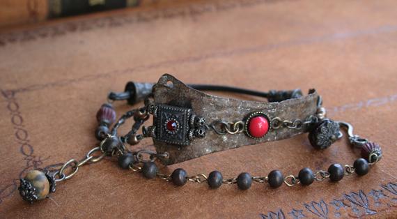 Jeweled vambrace wrap bracelet
