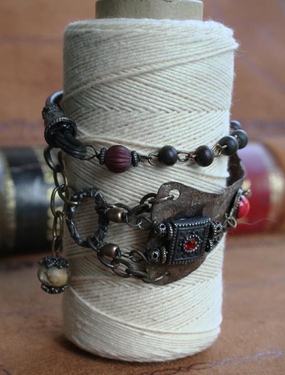 Jeweled vambrace wrap bracelet cc