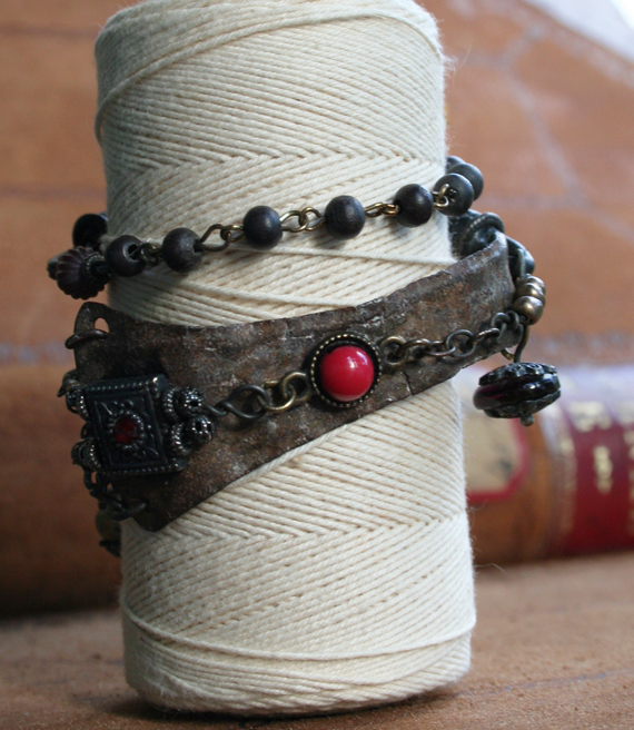 Jeweled vambrace wrap bracelet b