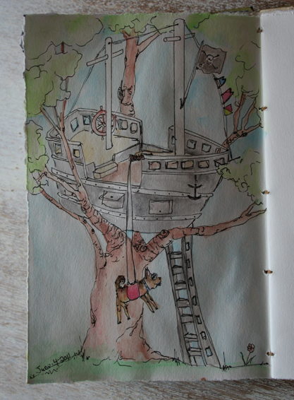 Pirate ship tree house daily sketchbook