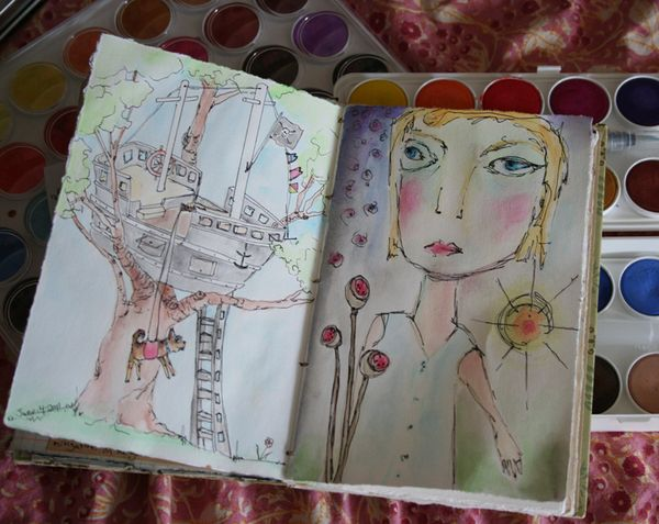 Self portrait daily sketchbook journal