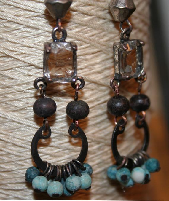 Rhinestone and blue dangle earrings aaa