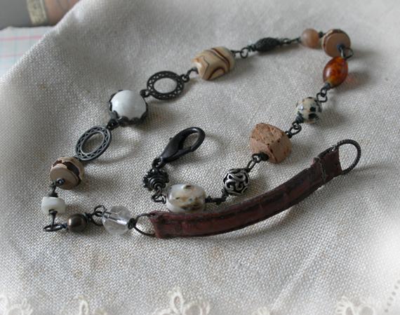 Katherine - stone and leather wrap gypsy bracelet chocker (5)