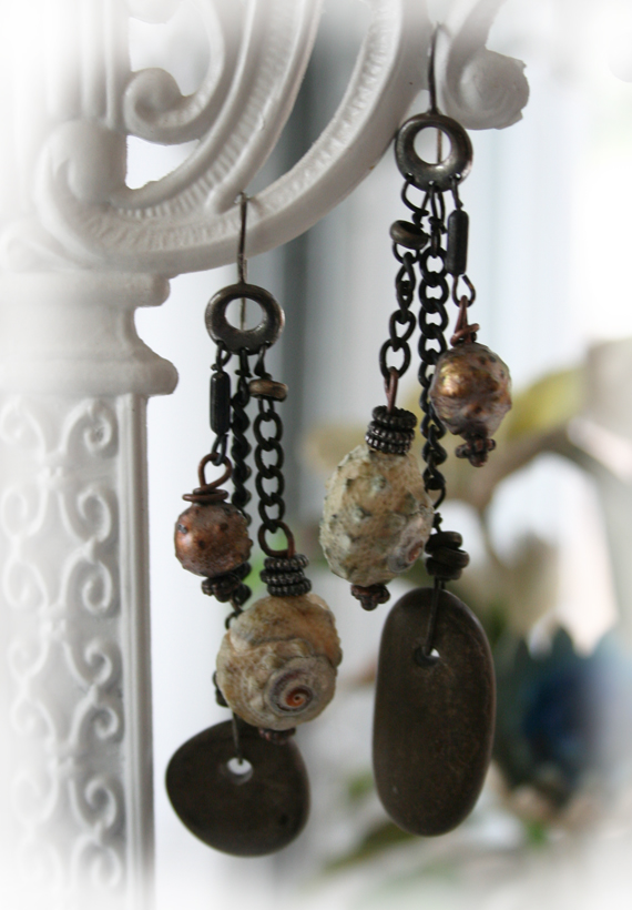 Beachcomber stone and pearl earrings a