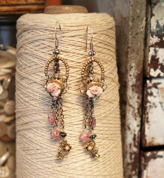 Porcelain rose earrings