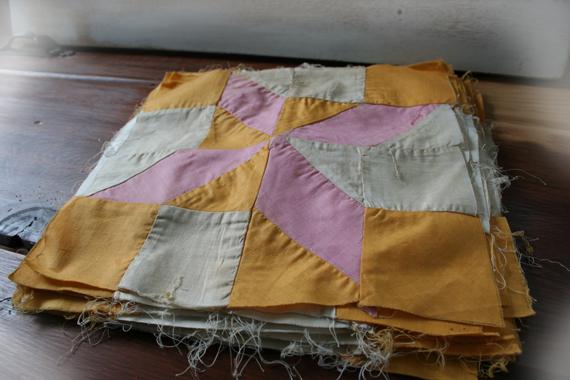 Pink and orange star quilt blocks