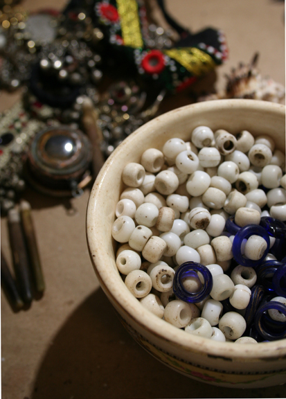 Bowl of white beads