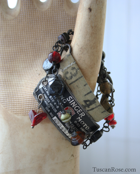 Vintage sewing love wrap bracelet f