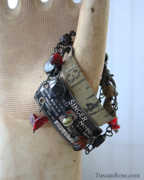 Vintage sewing love wrap bracelet f