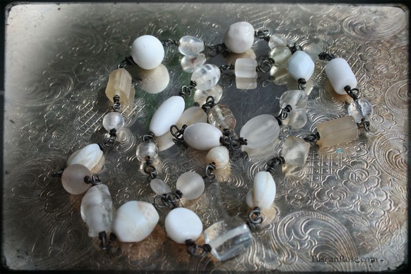 White linen beaded necklace aa