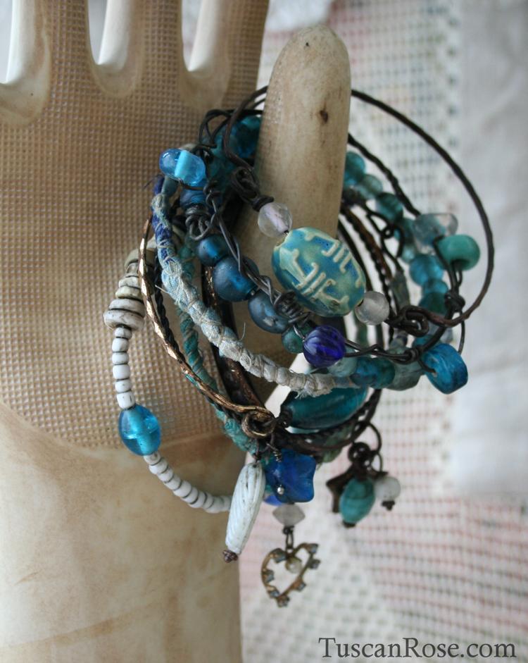 Ocean Bangle Stack - urban mermaid jewelry blue bracelets (5)