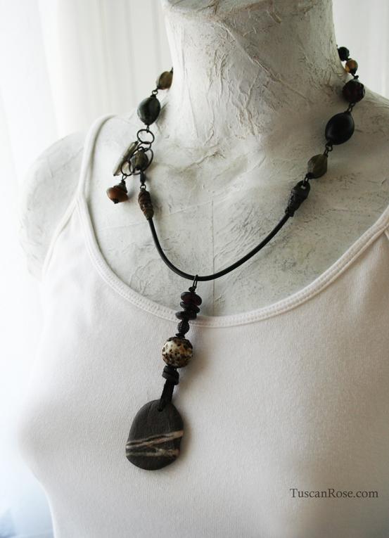 Striped rock talisman amulet necklace c