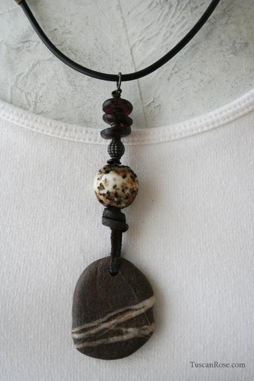 Striped rock talisman amulet necklace d