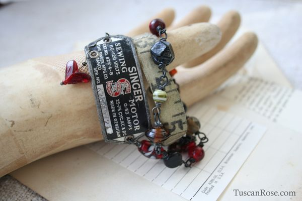 Vintage sewing love wrap bracelet d