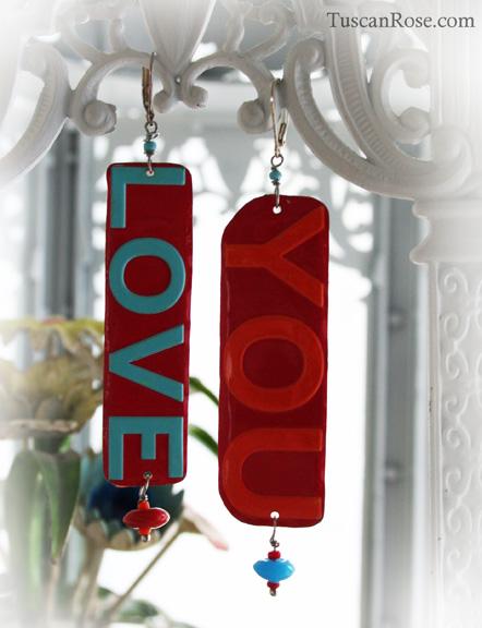 Love you tin earrings e
