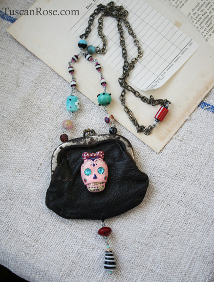 Sugar skull assemblage necklace b