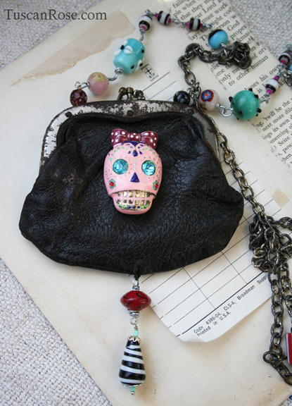 Sugar skull assemblage necklace a