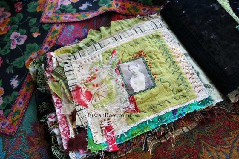 Fabric journal tuscan rose g