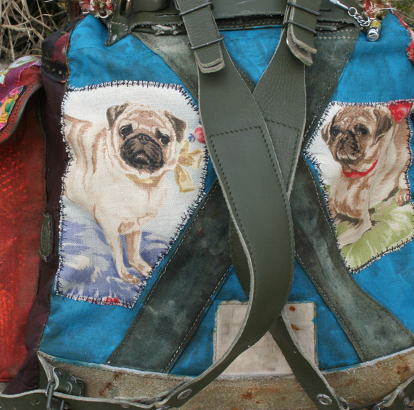 Guadalupe pug gypsy military backpack boho bag