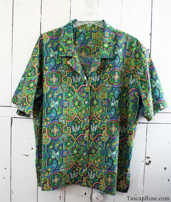 Neon paisley camp shirt vintage fabric
