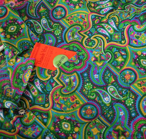Tropical hippie camp shirt pocket detail
