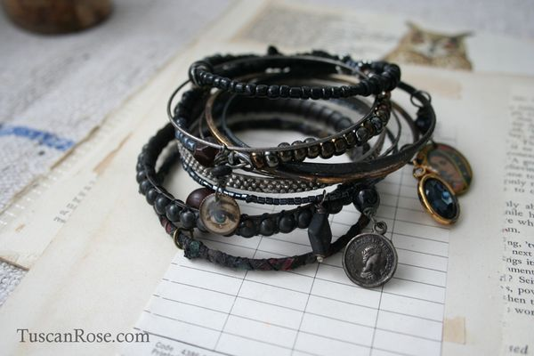 Midnight guadalupe bangle stack gypsy bracelet jewelry c