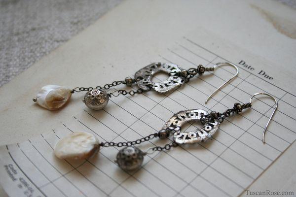 Mermaid relic earrings tuscan rose b