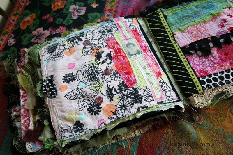 Fabric journal tuscan rose d