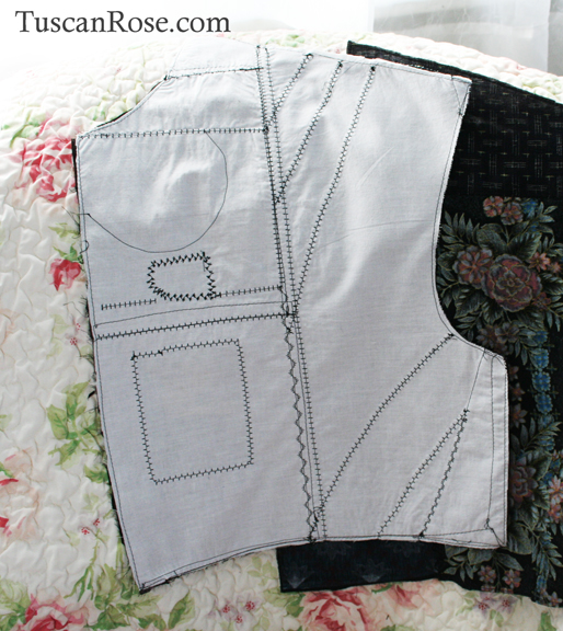 Pattern piece for the fun with kimono fabric jacket