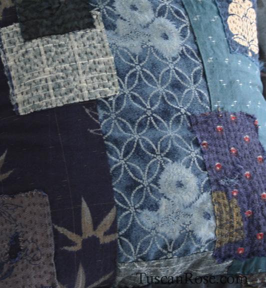Kimono scraps pillow e