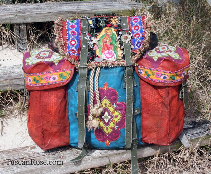 Guadalupe bohemian gypsy military backpack boho bag
