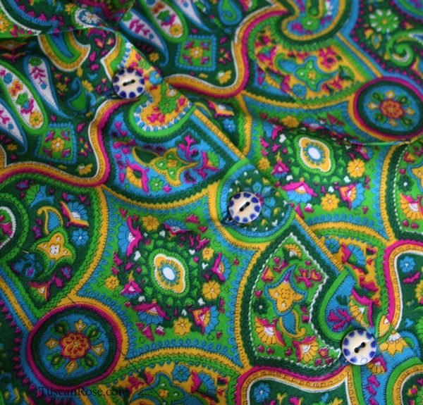 Neon paisley camp shirt buttons