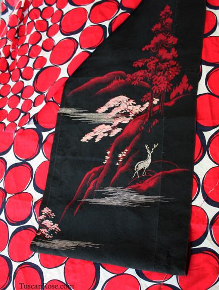 Vintage deer kimono fabric