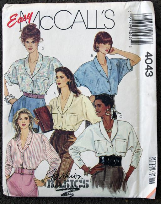 Mccalls 4043 dolman sleeve blouse pattern