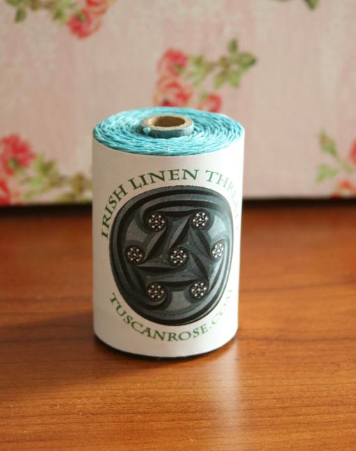 Waxed linen thread spools aqua