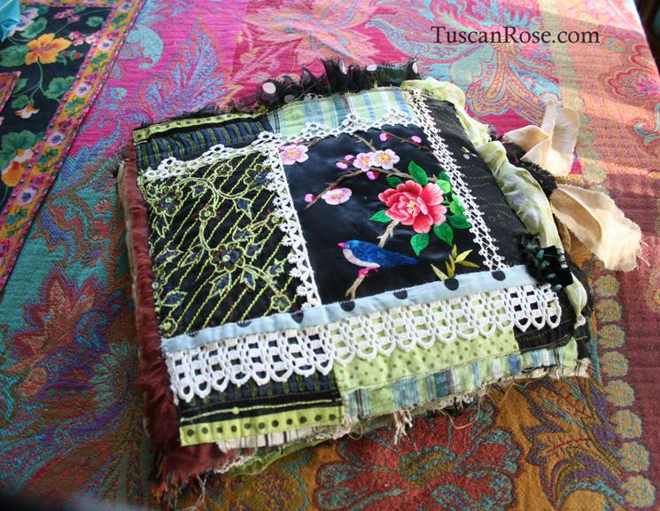 Fabric journal tuscan rose h