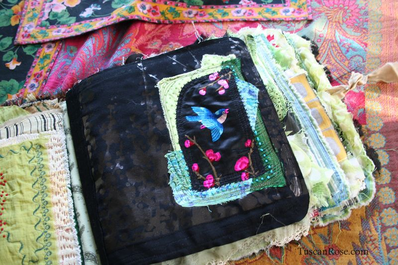 Fabric journal tuscan rose f