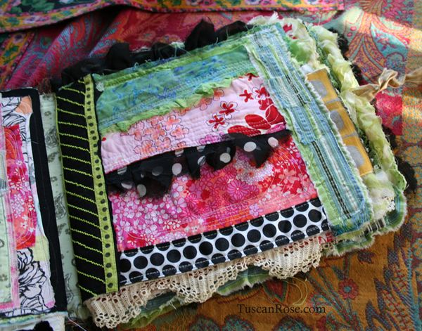 Fabric journal tuscan rose c