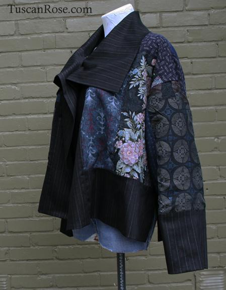 Fun with kimono fabrics jacket left side