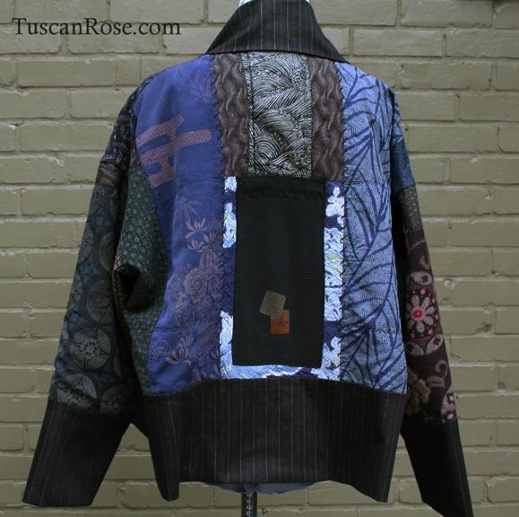 Fun with kimono fabrics jacket back