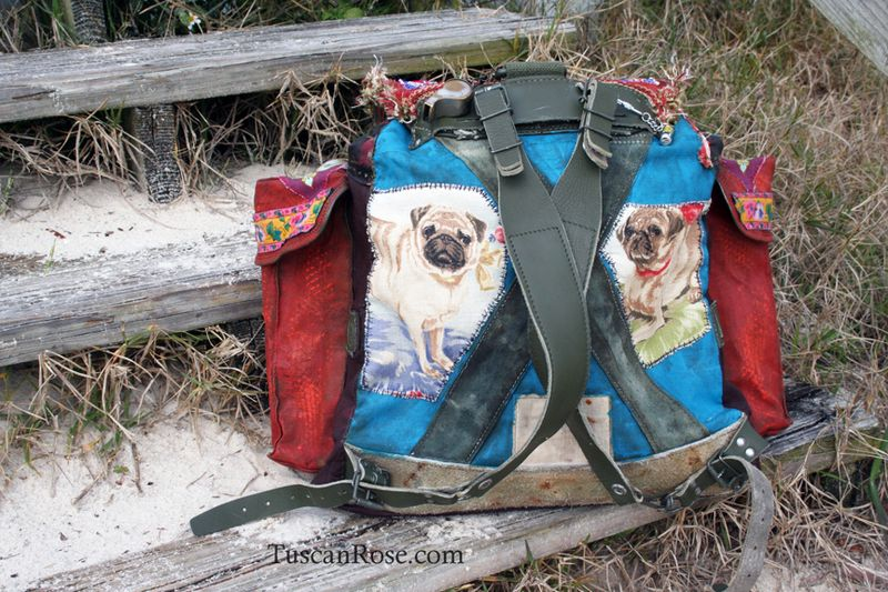 Guadalupe pug military backpack boho bag