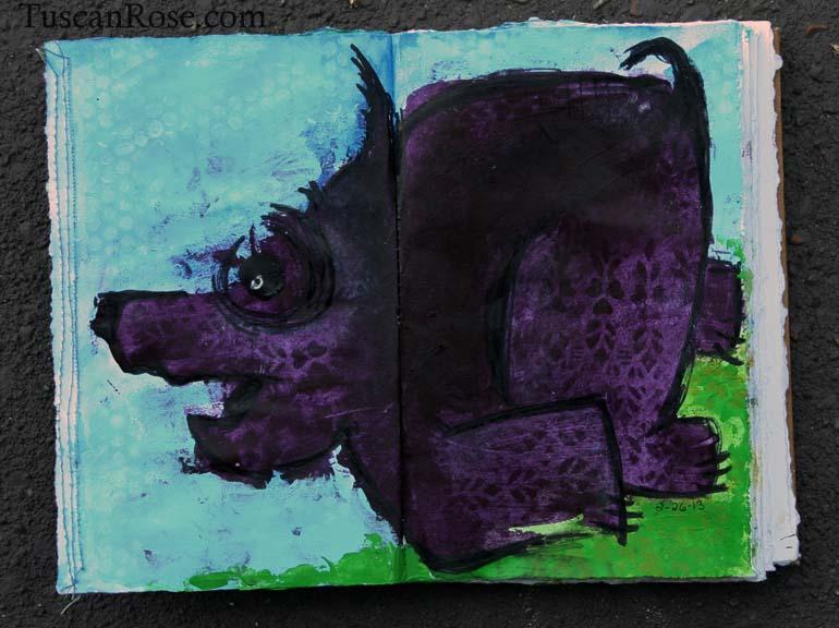 Purple dog running journal page