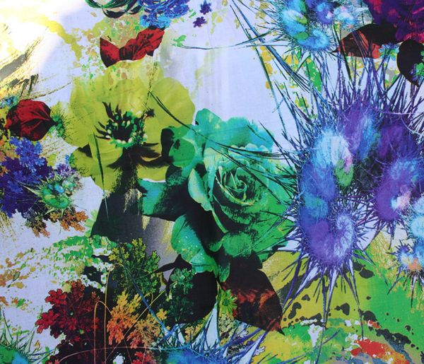 Fantasy floral large green rose fabric